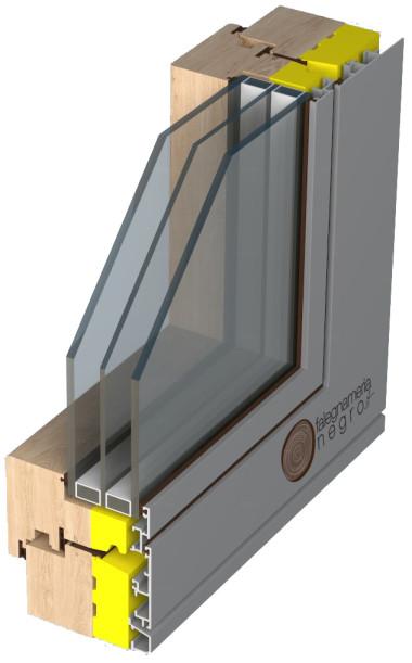 Serramento per casa passiva in Legno-isolante-alluminio Vetro filo esterno